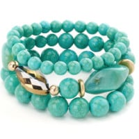 Turquoise Beaded Bracelet with Stone Center