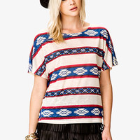 FOREVER 21 Southwestern Burnout Tee Blue/Red Large