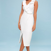 Miss Me White Ruffled Midi Dress