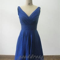 Custom Handmade V Neck Blue Chiffon Ruched A Line Knee length Formal Bridesmaid/Party/Prom/Homecoming/Cocktail/Evening Dress Gown