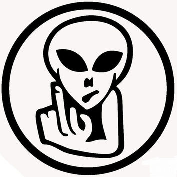 Alien giving the middle finger decal