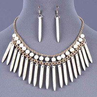 White Indian Style Gemstone Earring and Necklace Set