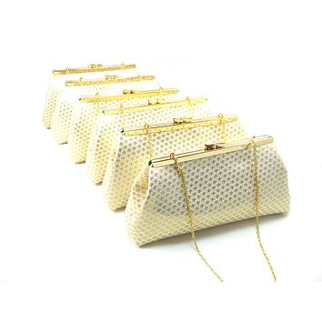 Set of Six Gold Flake and Emerald Green Bridesmaid Gift Clutches 5% Off