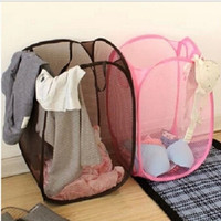 deals] 2015 Big Size Fashion Candy Colors Mesh Fabric nylon Foldable Pop Up Dirty Clothes Basket Bag Bin Hamper Storage for Home = 6044573447