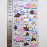 SUPER PUFFY Japanese animal butt stickers - kawaii stickers - hamster stickers - bunny stickers, cat stickers, cute animal stickers, penguin