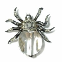 1940s Crown Trifari Silver Spider Fur Clip by Alfred Philippe Lucite Jelly Belly