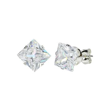 925 Sterling Silver Square Princess Cut Clear CZ Stud Earrings Prong Set