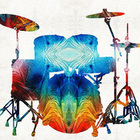 Drum Set Art - Color Fusion Drums - By Sharon Cummings Poster