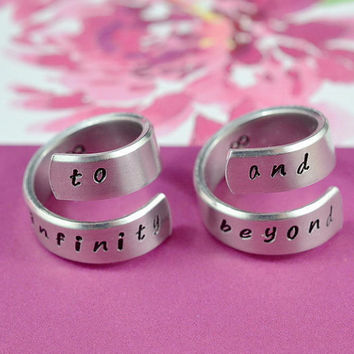 Forever Love, Friendship - to infinity and beyond - Spiral Rings,  Hand stamped, Shiny Aluminum