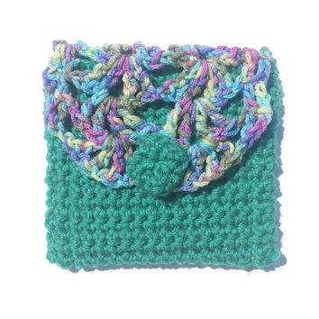 Teal and Multicolor Handmade Crochet Pouch Fabric Interior Boho Crocheted Cosmetic Makeup Clutch Bag Lined Bags & Purses Womens Gift Purse