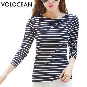 Tshirt  Autumn Winter T-shirts For Women Classic Striped Cotton T Shirt Woman Plus Size Female T-shirt