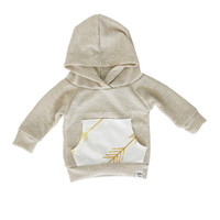 oatmeal arrow hoodie, gold arrow hoodie, gender neutral hoodie, baby jogger outfit, coming home outfit, modern baby clothing