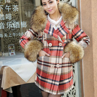 Check pattern, fur collar medium long fashion women winter coat