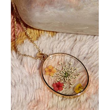 Pressed Wildflower Necklace - Oval