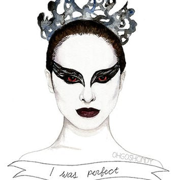 Black Swan Nina Sayers watercolour portrait PRINT by ohgoshCindy