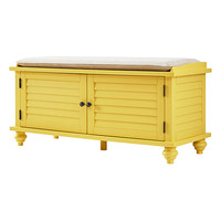 Yellow Shutter Cushioned Cabinet Bench
