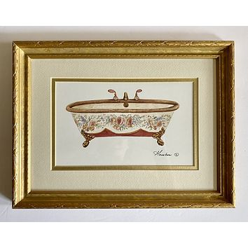 Victorian Claw Foot Bath Tub w/ Peach Burgundy Pink Roses matted & Framed