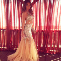 2017 Champagne Mermaid Prom Dresses Long Luxury Halter Tulle Crystal Evening Party Dress Cheap Formal Gown WH64