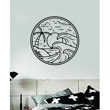Surf Beach Circle V5 Decal Sticker Wall Vinyl Art Home Room Decor Bedroom Sports Quote Surfing Ocean Waves Good Vibes