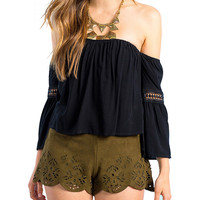 Off -Shoulder Long Sleeve Ruffled Cropped Top with Crochet Accent