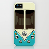 Blue teal VW volkswagen mini van mini bus kombi camper apple iPhone 4 4s, 5 5s 5c, iPod & samsung galaxy s4 case by Three Second