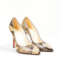 DCCK2 Brown and Cream Christian Louboutin Snakeskin Leather Decollete Pumps