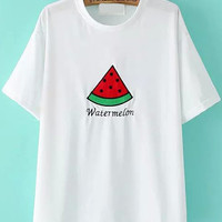 Watermelon Patch Embroidered White T-Shirt