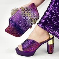 New Women Shoes And Bag Set Decorated With Rhinestone Ladies Shoes With Matching Bags Set Shoes Women Heel