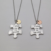 Two Tones I love you to pieces Puzzle necklace Mother daughter necklace personalized gifts Gift for him for her girlfriend gift