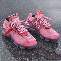 Nike Air Vapormax Flyknit Fashion New Hook Letter Print Running Shoes Pink