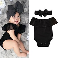 US Newborn Baby Girls Clothes Off Shoulder Lace Romper Headband Outfits Sundress