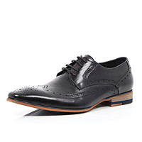 River Island MensBlack leather formal lace up shoes