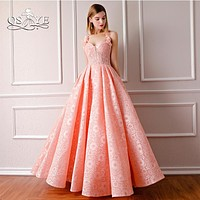 QSYYE 2018 Pink Formal Evening Dress Spaghetti Straps Sweetheart 3D Flowers Floor Length Lace Long Prom Dress Party Gown Custom