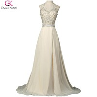 Grace Karin Long Prom Dresses With Slit Chiffon Hatler Backless Sexy Formal Gowns Special Occasion Dresses For Wedding Party