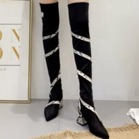 Hot style high heel snake print thin stretch fabric boots for women