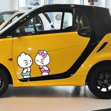 Hello Kitty Car Stickers Love Kissing Cartoon Colorful Decals For Doors Cover Auto Tuning Waterproof Duad 18*11cm 28*17cm D11
