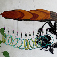Recycled  bottle wind chime, Wine bottle wind chime, Yard art, Glass bottle wind chime, juniper wood, Amber glass, Teal, Purple
