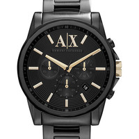Armani Exchange Mens Black Ion Plated Stainless Steel Chronograph Watch