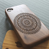 Walnut wood iphone 4 case iphone 4s case floral iphone 4 case