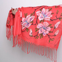 Women's cashmere scarf with flowers