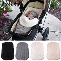 Thick Baby Swaddle Wrap Knit Envelope born Sleeping Bag Baby Warm Swaddling Blanket Infant Stroller Sleep Sack Footmuff