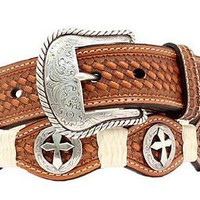 Nocona Men's Western Leather Scallop Cross Concho Belt Natural