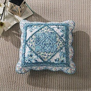 Tache Cotton Patchwork White Blue Floral Scalloped Petal Dance Cushion Cover 2-Pieces (JHW-646)