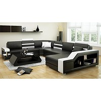 Premium Quality Construct Luxurious Leather Sectional Sofa Set