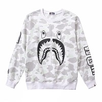 Bape Aape Autumn And Winter New Fashion Shark Print Women Men Long Sleeve Top Sweater White