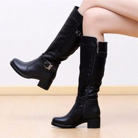 Black Leather Buckle Motor Boots