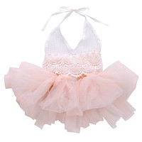 Baby Fashion Romper Lace Tulle Girls Jumpsuit Infant Kids Overall Clothing Cotton Tutu Children Clothes one Piece
