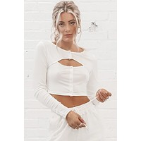 Bend And Snap Front Button Long Sleeve Crop Top