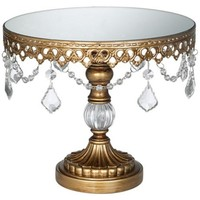 Antique Gold Beaded Small Cake Stand - #P1812 | LampsPlus.com