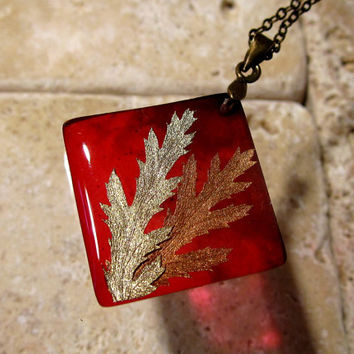Tansy leaf necklace, plant jewellery, nature jewelry, botanical, rustic, red